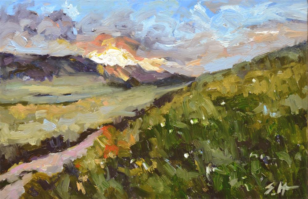 """Mountain Sunset"" original fine art by Susan Hughes"