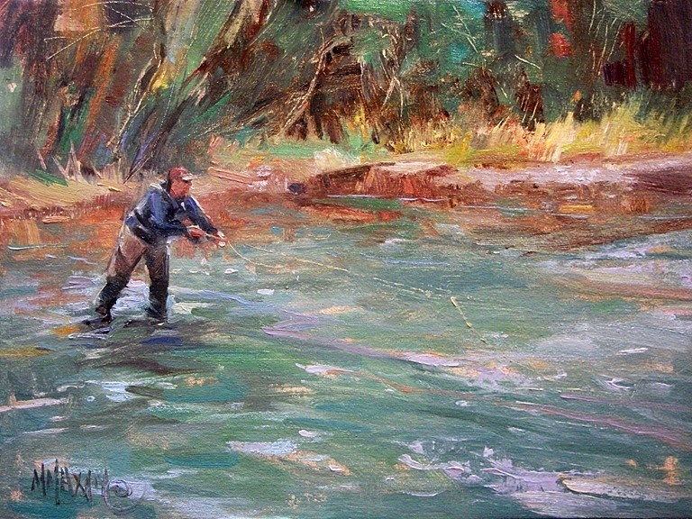 """Anticipation - fly fishing on the Owyhee River"" original fine art by Mary Maxam"
