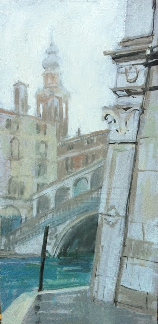 """Rialto bridge in early morning fog"" original fine art by Haidee-Jo Summers"
