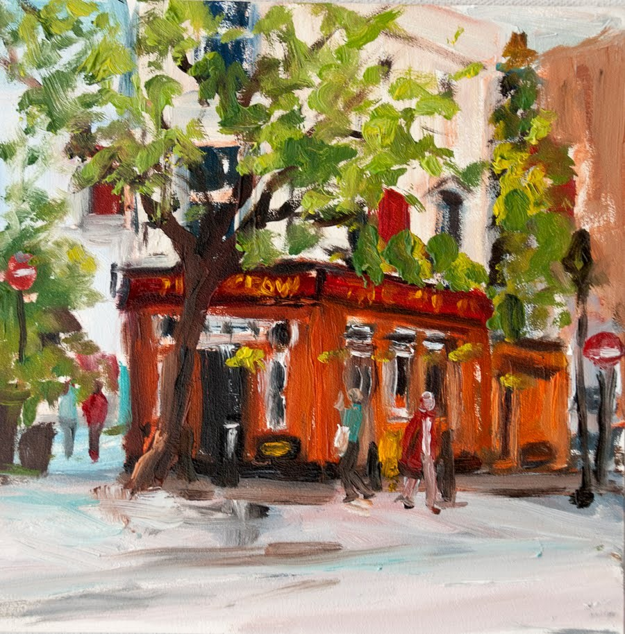 """KMD Outside the Pub (London painting, urban, cityscape, original oil)"" original fine art by Kit Hevron Mahoney"