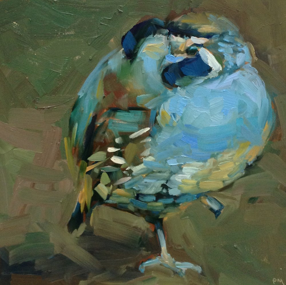 """Blue Suede Quail"" original fine art by Patti McNutt"