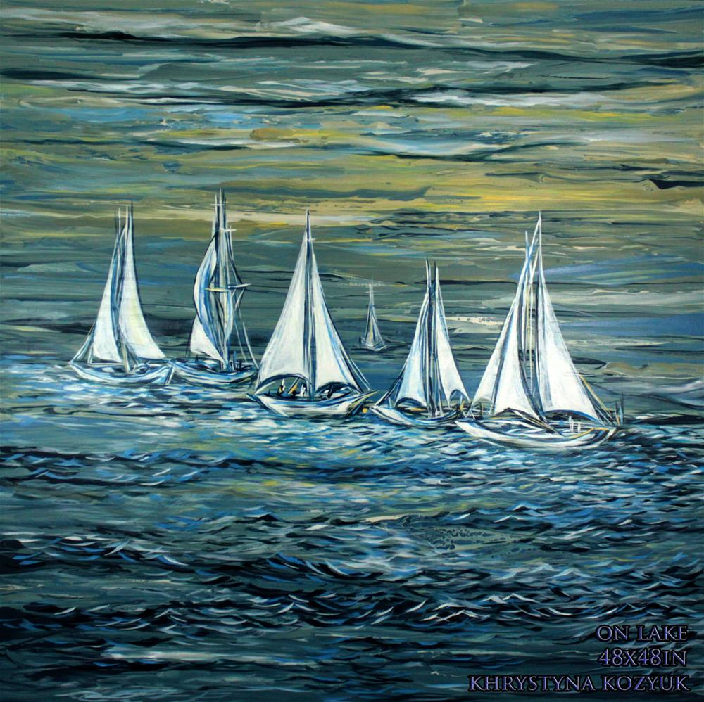 """On Lake ,original large seascape painting on canvas"" original fine art by Khrystyna Kozyuk"