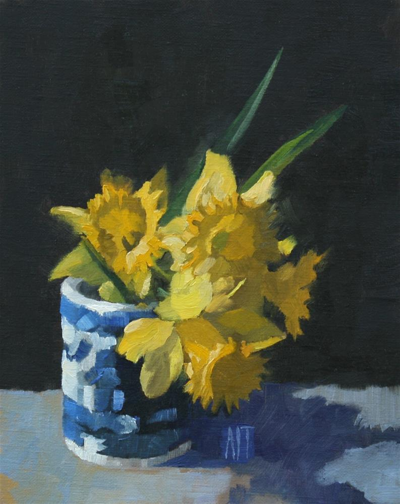 """Daffodils & Blue Willow"" original fine art by Amy Irwin Tank"