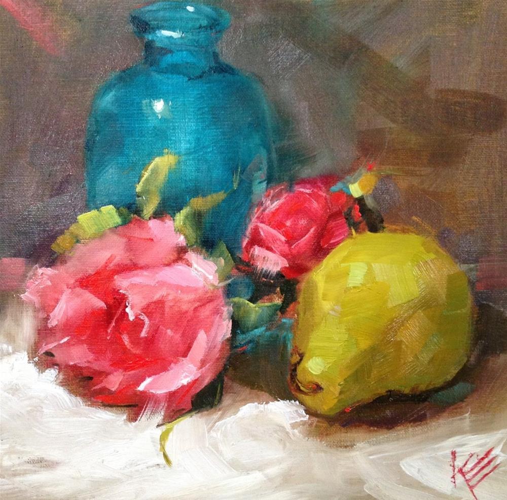 """Roses and blue vase"" original fine art by Krista Eaton"
