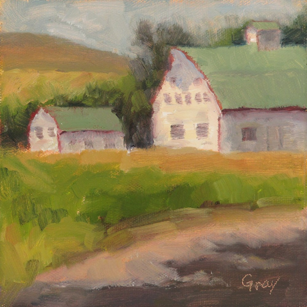 """White Barns with Green Roofs"" original fine art by Naomi Gray"