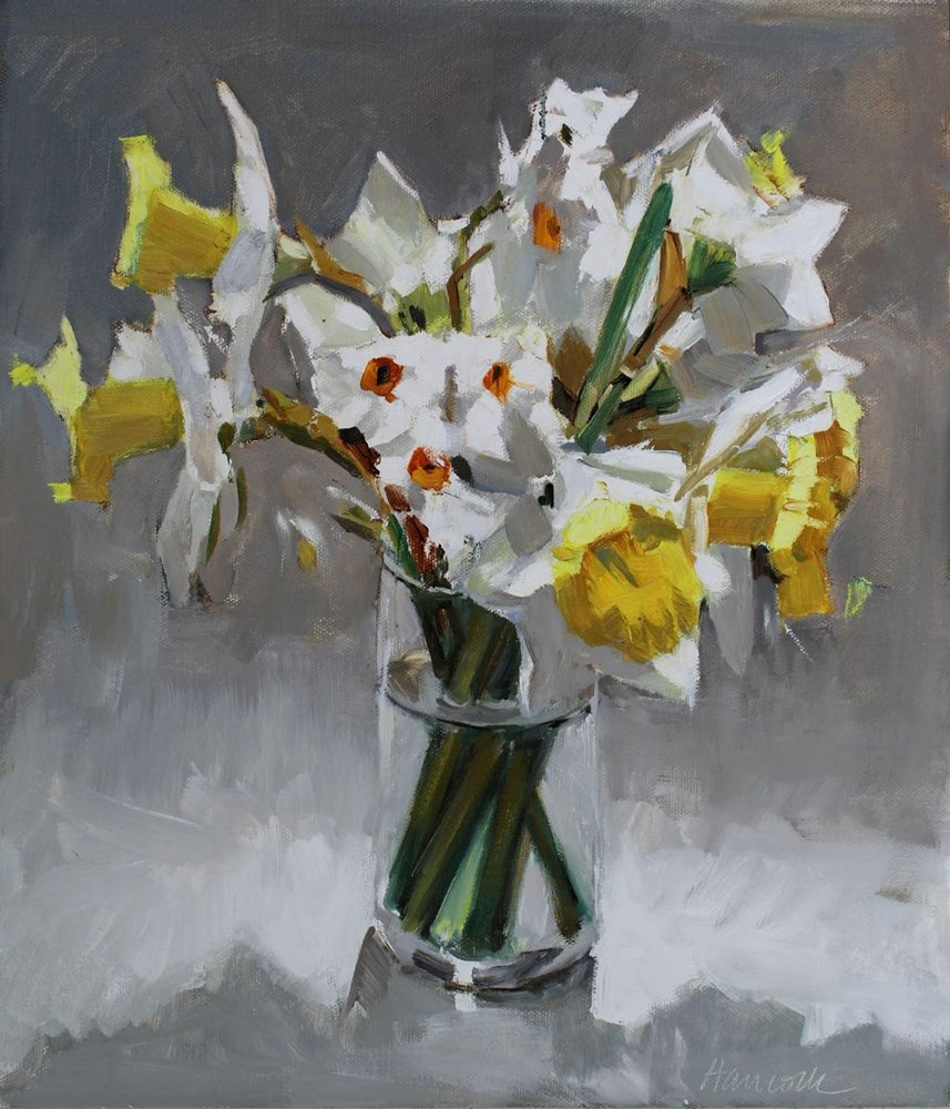 """Daffodil Bouquet in Top Light"" original fine art by Gretchen Hancock"