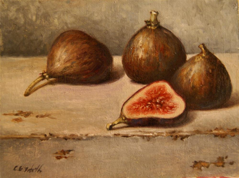 """Fig Quartet Still Life"" original fine art by Carolina Elizabeth"