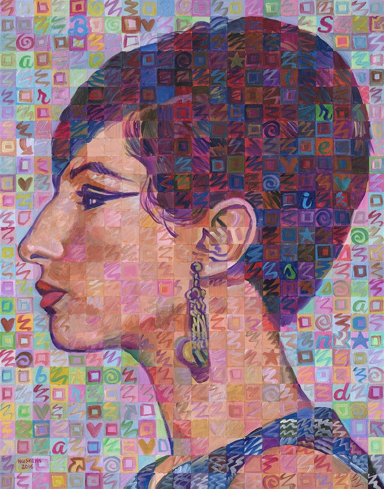 """Barbra Streisand Profile Portrait"" original fine art by Randal Huiskens"