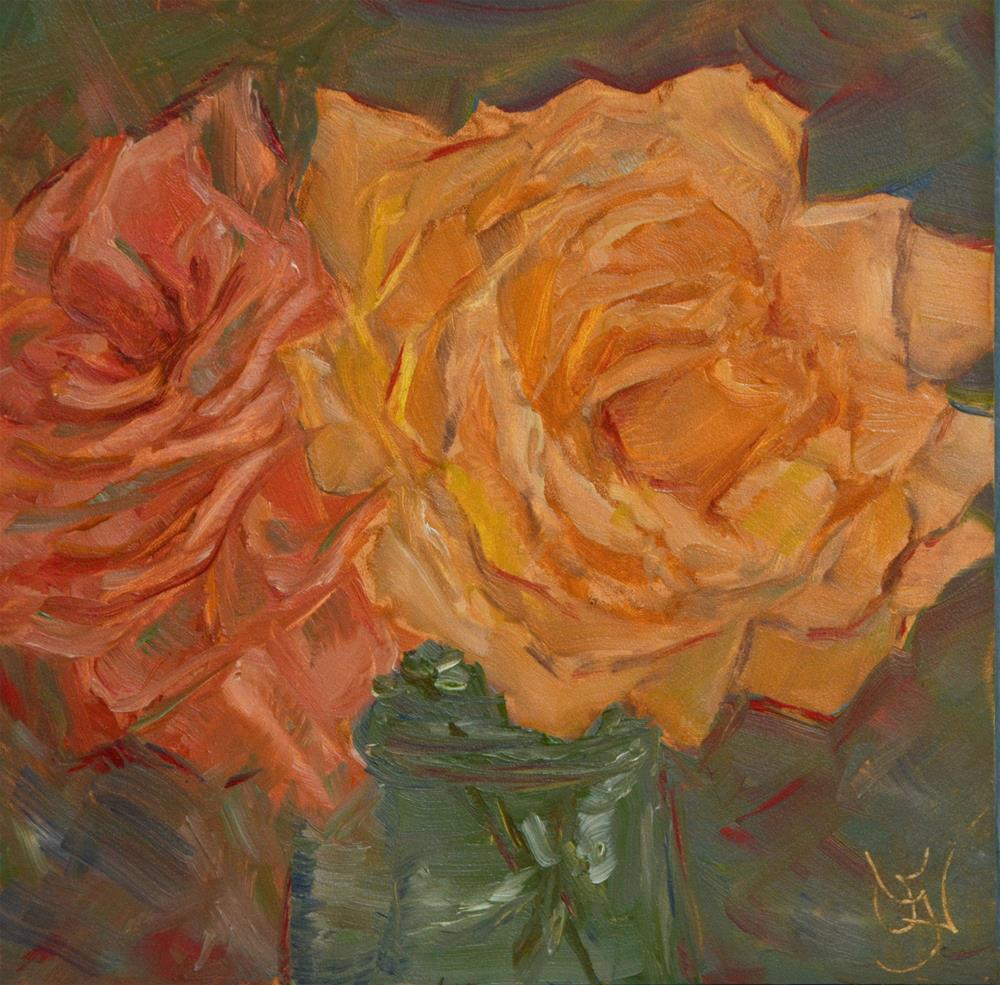 """Rose Buddies"" original fine art by Jan Jackson"