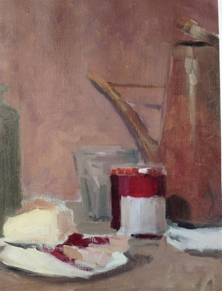 """Red still life"" original fine art by Christine Bayle"