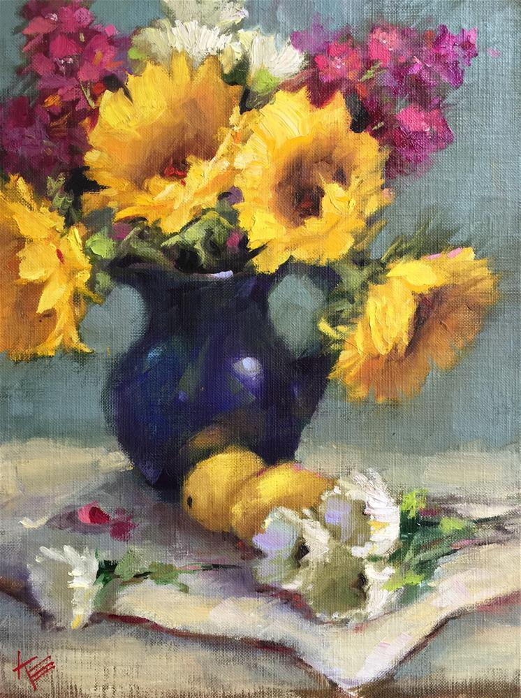 """Sunflowers & Lemons"" original fine art by Krista Eaton"