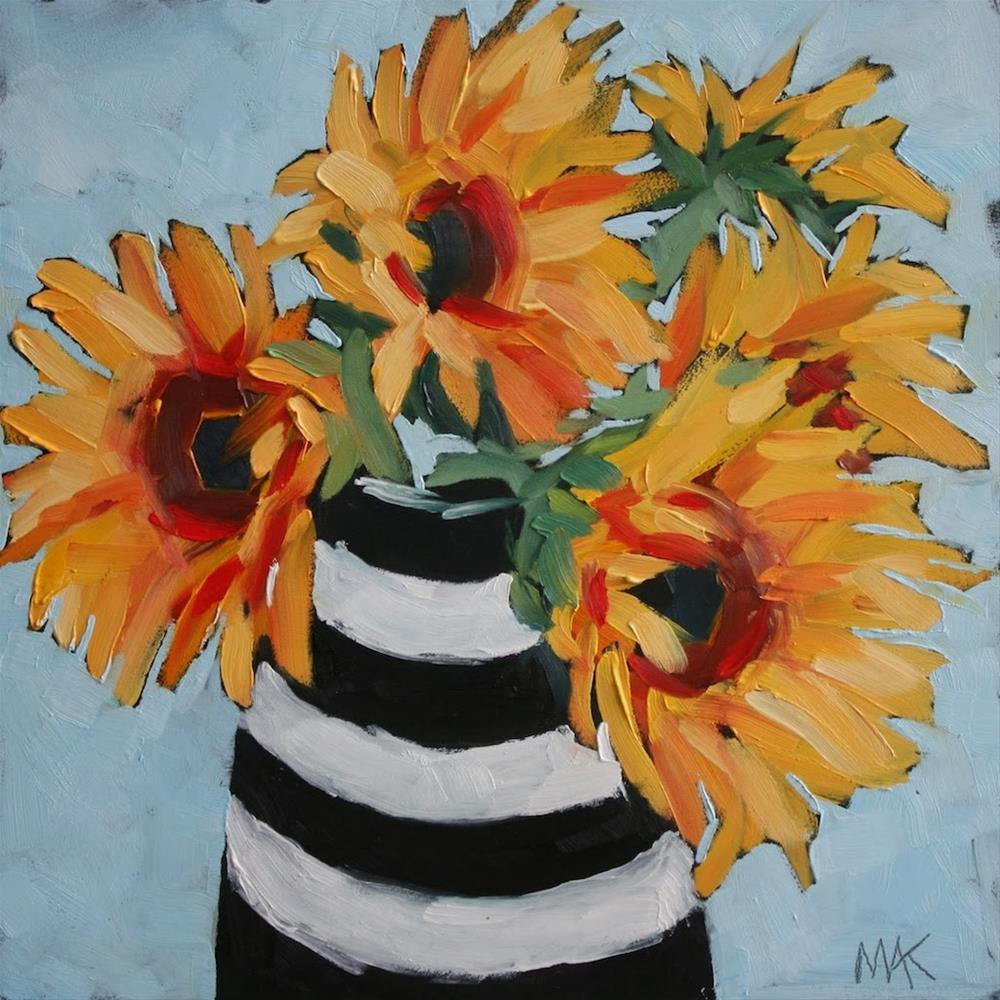 """Sunflowers and Stripes"" original fine art by Mary Anne Cary"