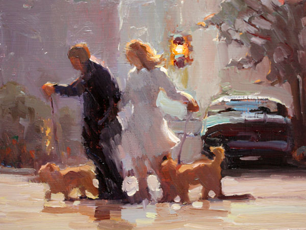 """Walking the Dogs"" original fine art by Carol Myer"