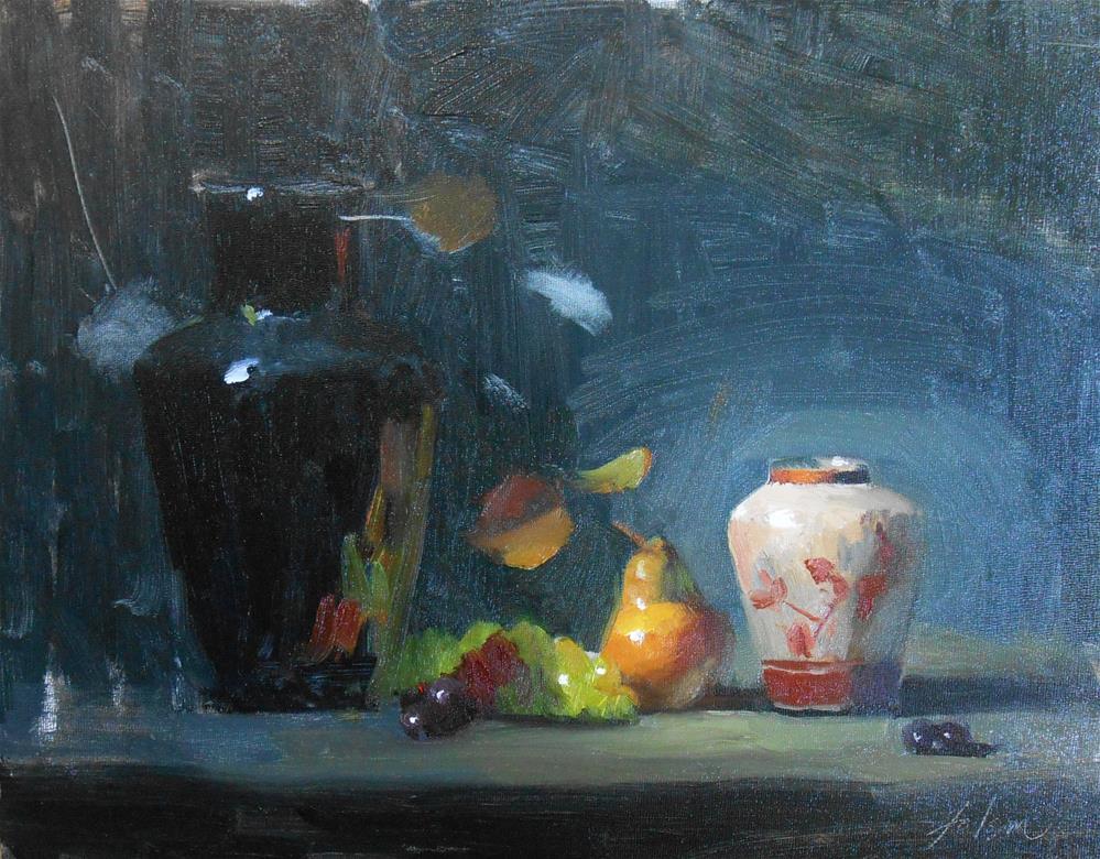 """""""Ginger Jar with Pear"""" original fine art by Kelli Folsom"""