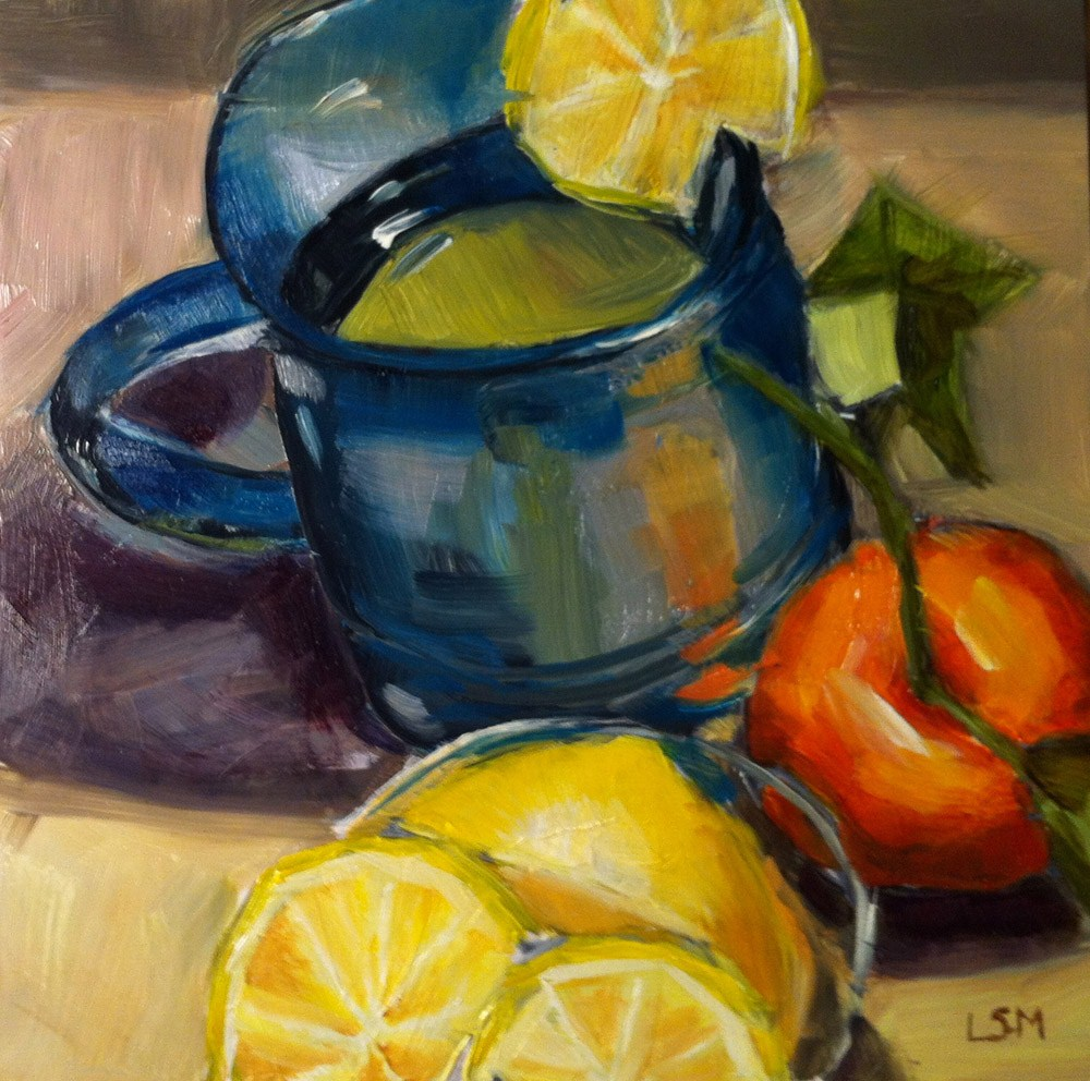 """Lemon Tea in Blue Cup"" original fine art by Linda Marino"