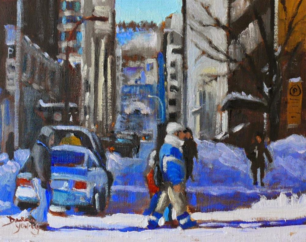 """822 Montreal Winter Scene, Crossing Drummond, 8x10 oil"" original fine art by Darlene Young"
