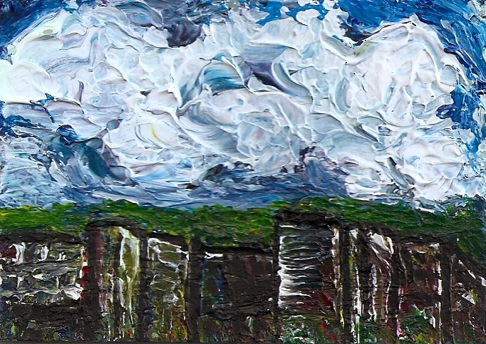 """""""ACEO Abstract Clouds Cityscape Impasto Palette Knife Art SFA by Penny StewArt"""" original fine art by Penny Lee StewArt"""