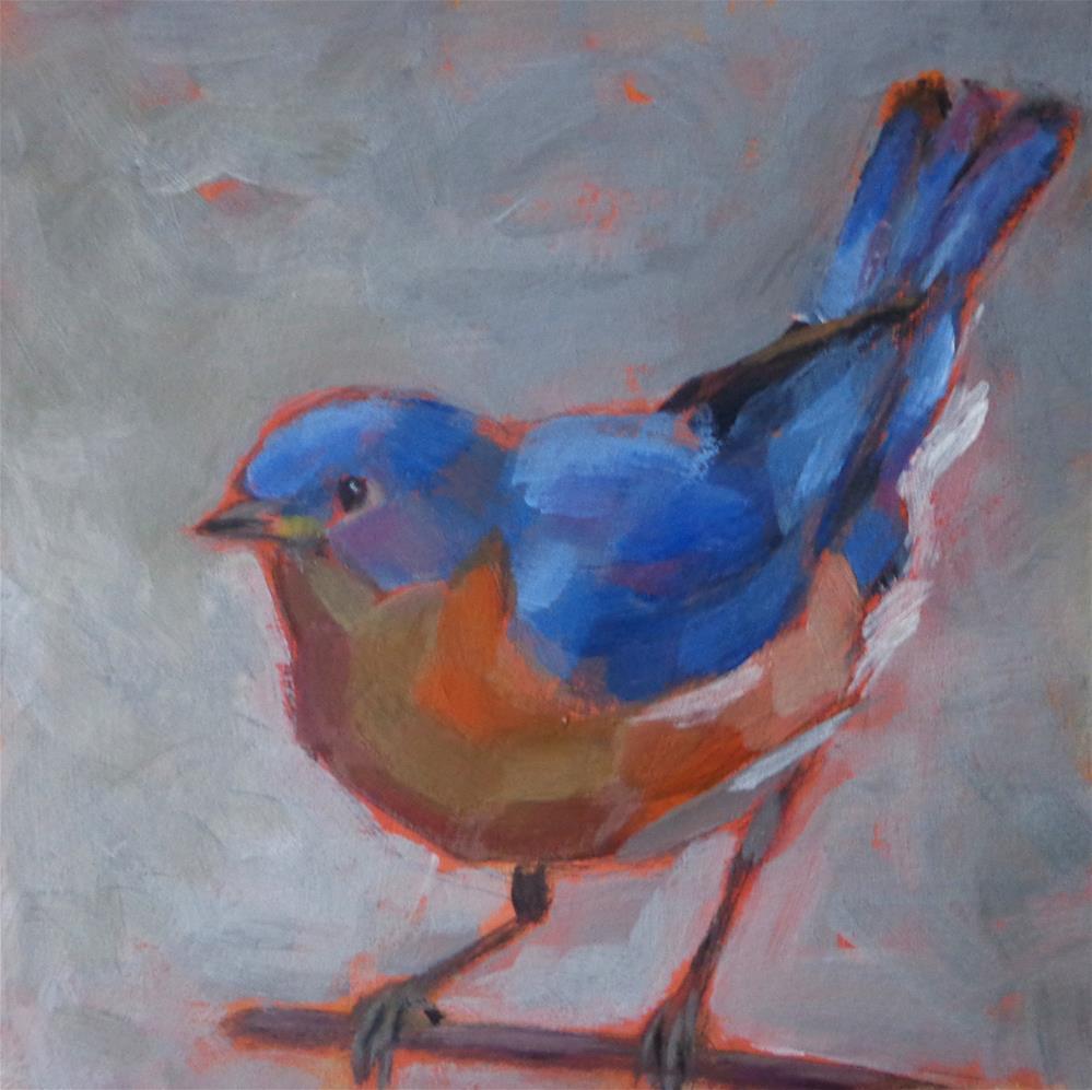 """Bluebird on a branch"" original fine art by Maria Z."