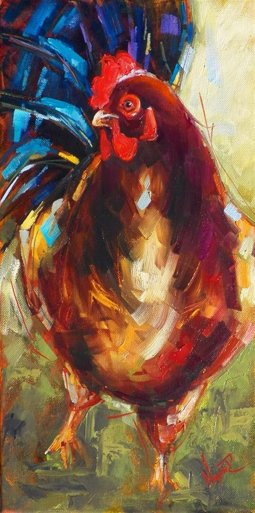 """CONTEMPORARY ROOSTER IN OILS by OLGA WAGNER"" original fine art by Olga Wagner"