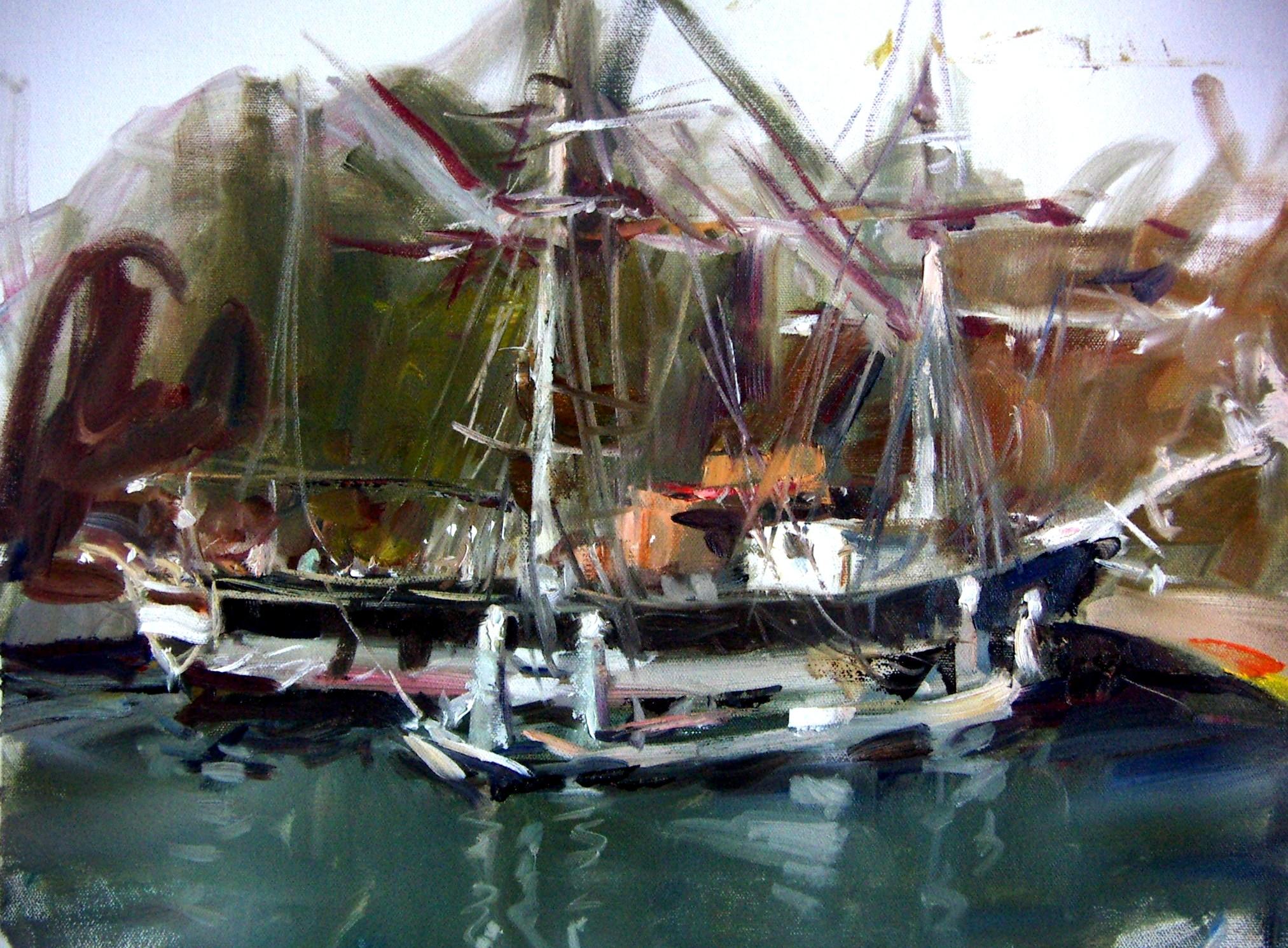 """sketch of boat"" original fine art by Richard Schiele"