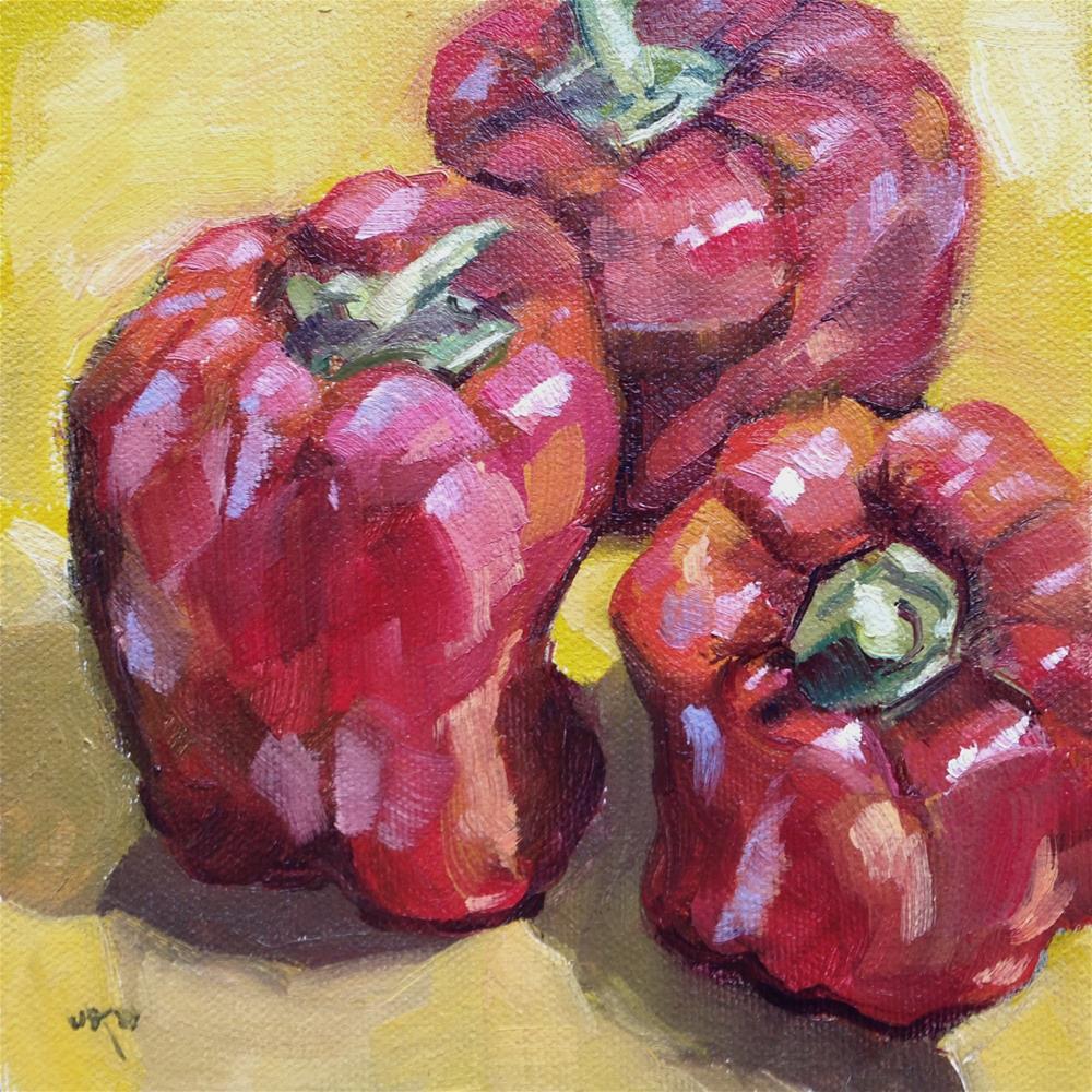 """""""Red & Ready"""" original fine art by Jeanne Bruneau"""