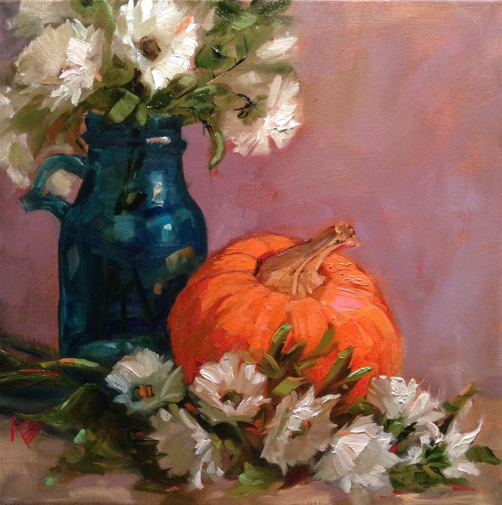 """Pumpkin & Daisies still life 12x12"" original fine art by Krista Eaton"