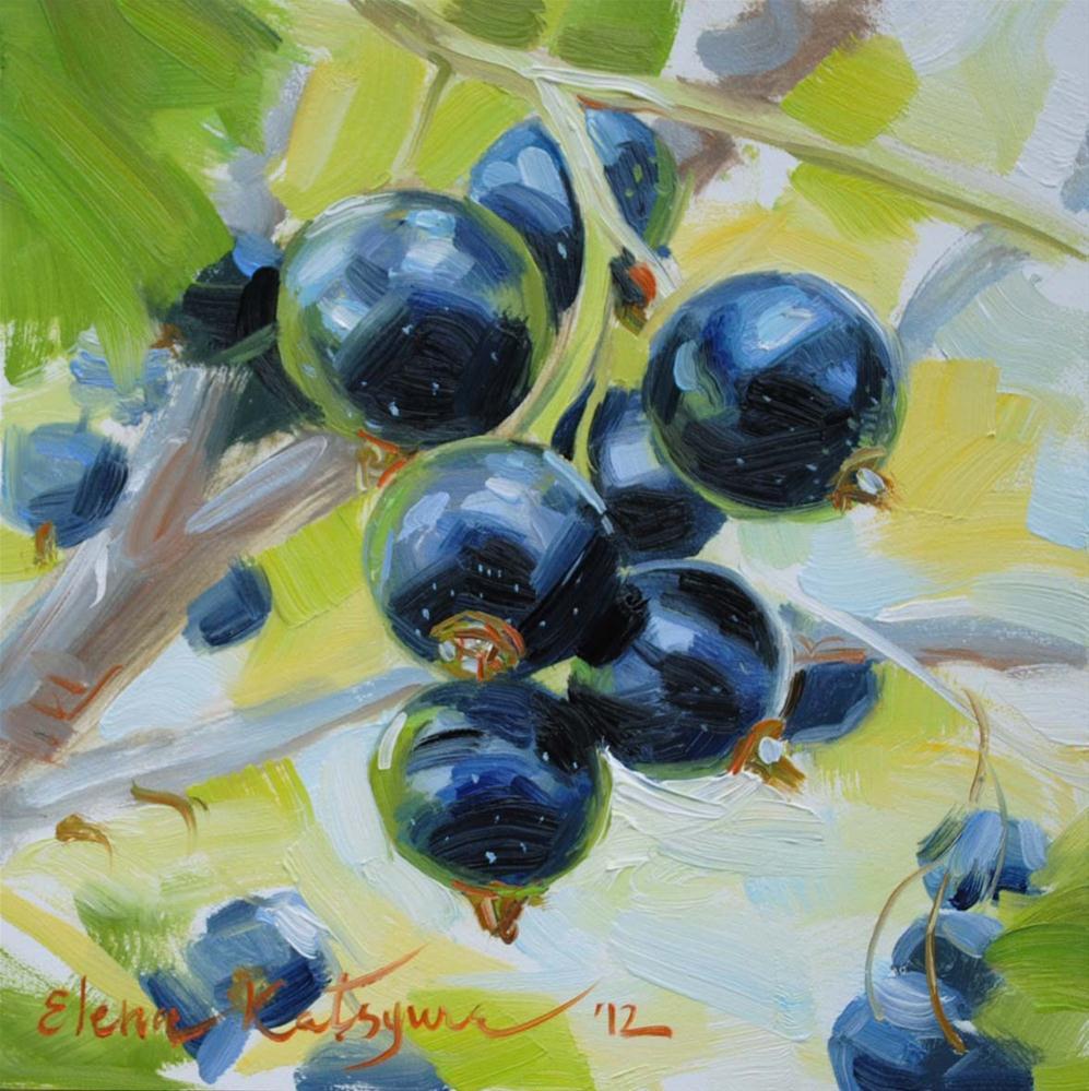 """Blackcurrant Twig"" original fine art by Elena Katsyura"