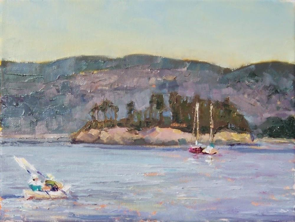 """Lunch on the Islands.seascape,oil on canvas,8x10,price$350"" original fine art by Joy Olney"