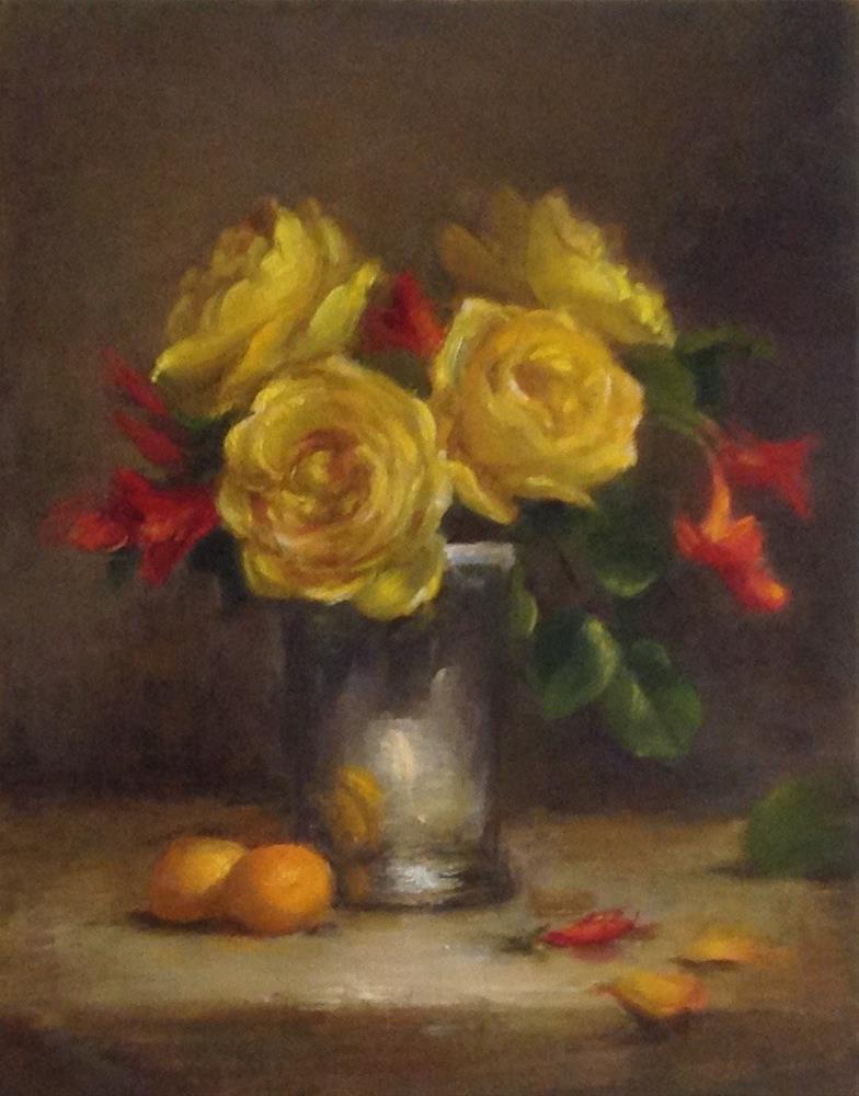 """Yellow Roses"" original fine art by Susan Leider"