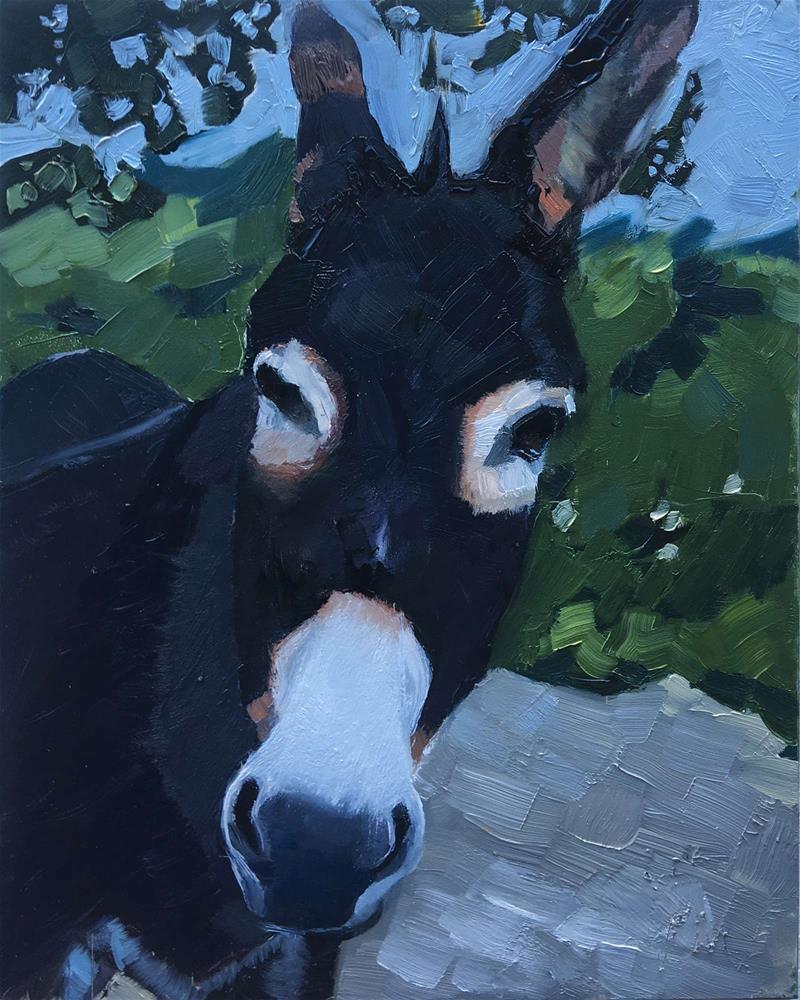 """""""Door Greeter"""" original fine art by Leslie Miller"""