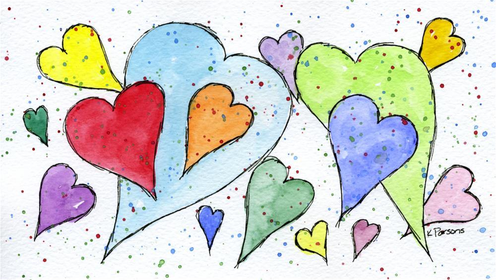 """Polka Hearts"" original fine art by Kali Parsons"