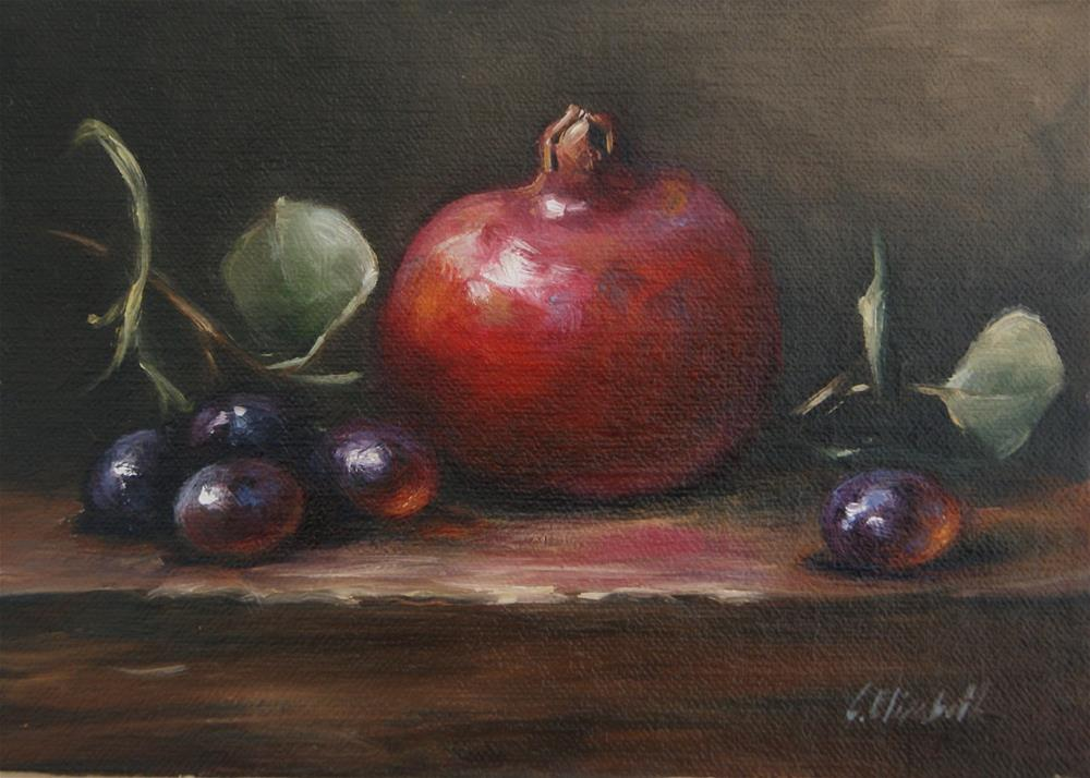 """Still Life with Pomegranate and Grapes,  Oil on 5x7 Linen Panel"" original fine art by Carolina Elizabeth"
