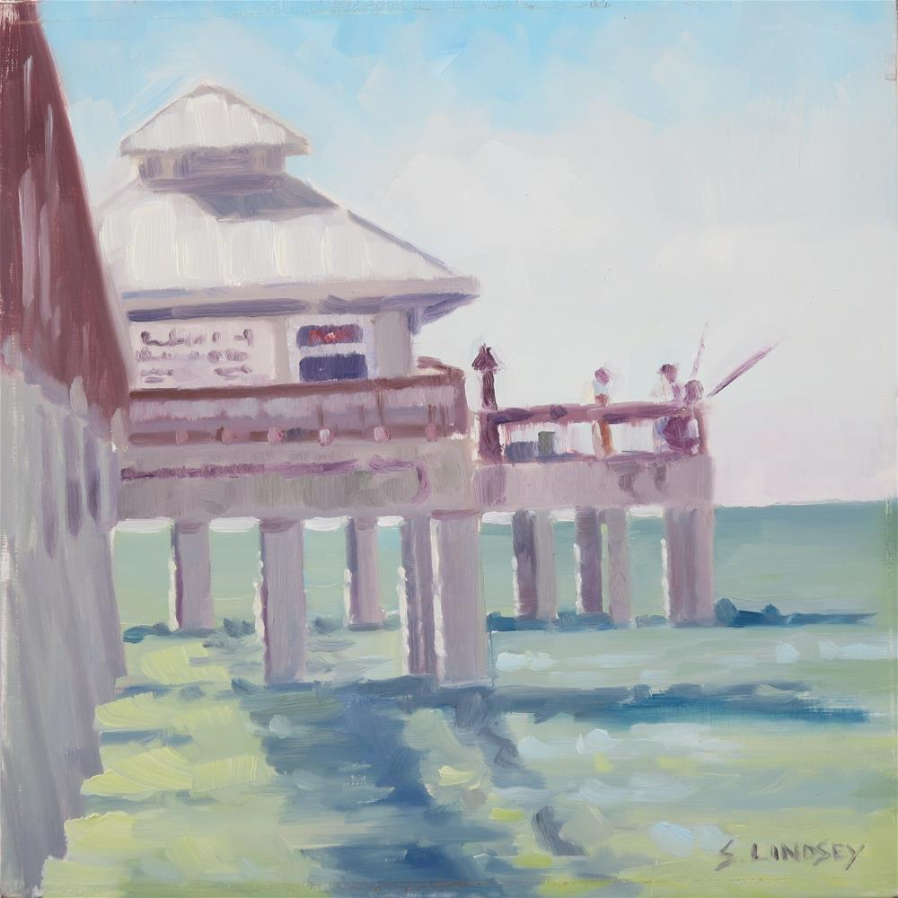 """Fishing on the Pier"" original fine art by Susan Lindsey"