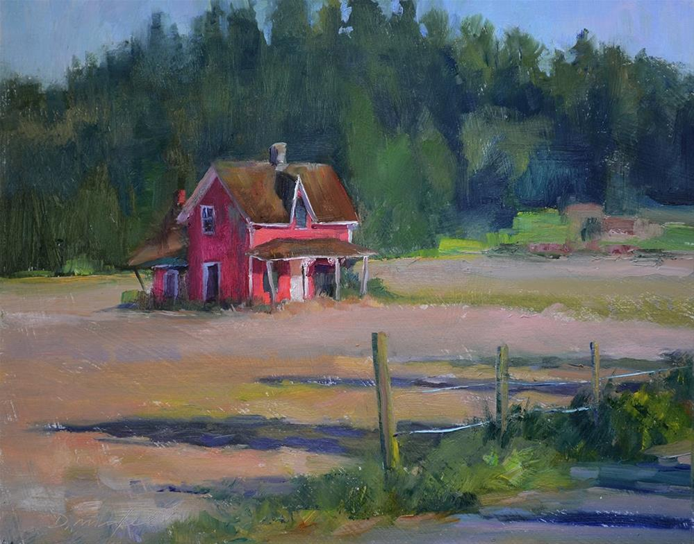 """Crimson Farmhouse, Lengthening Shadows"" original fine art by Denise Maxwell"