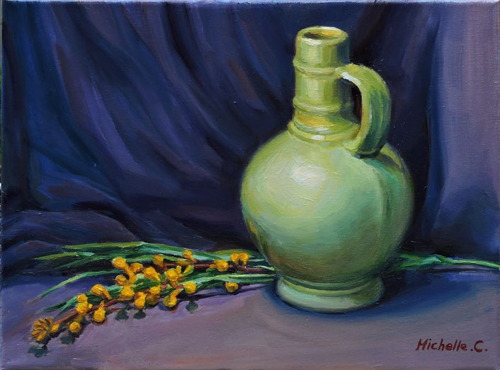 """Green Vase"" original fine art by Michelle chen"