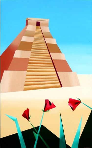 """Mark Adam Webster - Abstract Geometric Pyramid Acrylic Painting"" original fine art by Mark Webster"