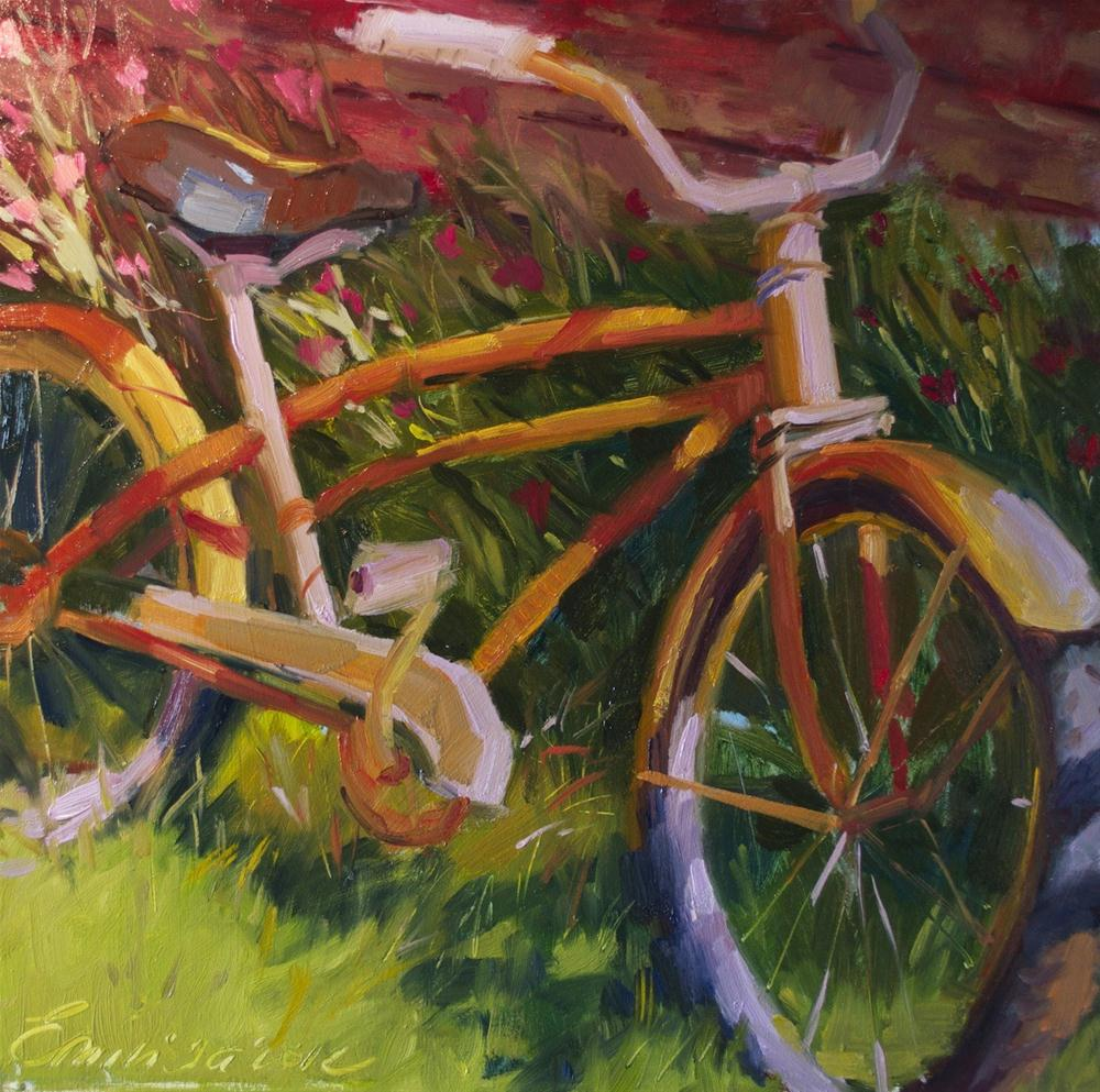 """Colorful Ride oil on board , 15'x 15'"" original fine art by Emiliya Lane"