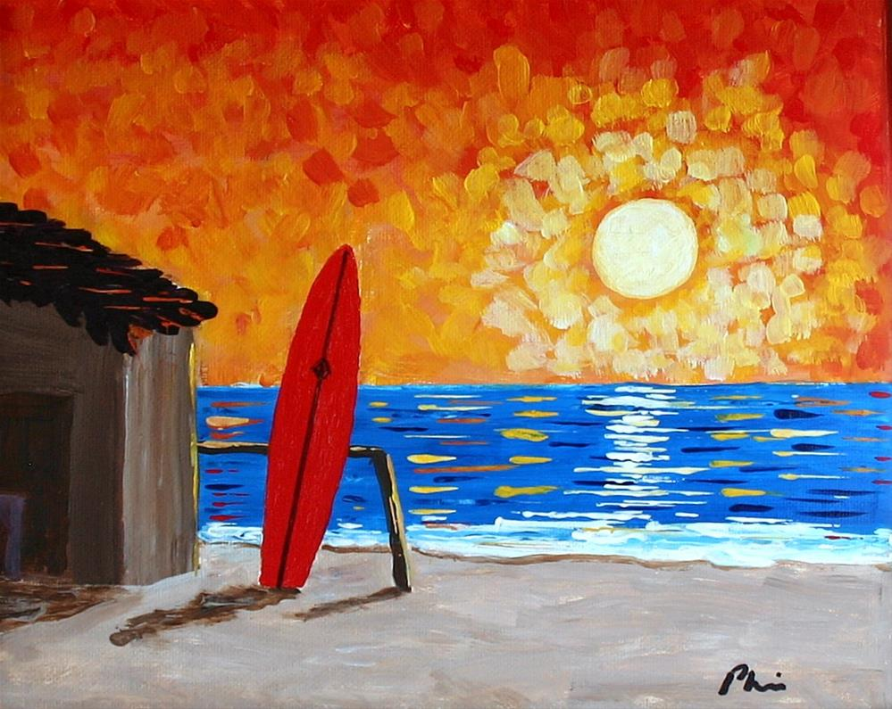 """SURF THE SUNSET"" original fine art by Bob Phillips"