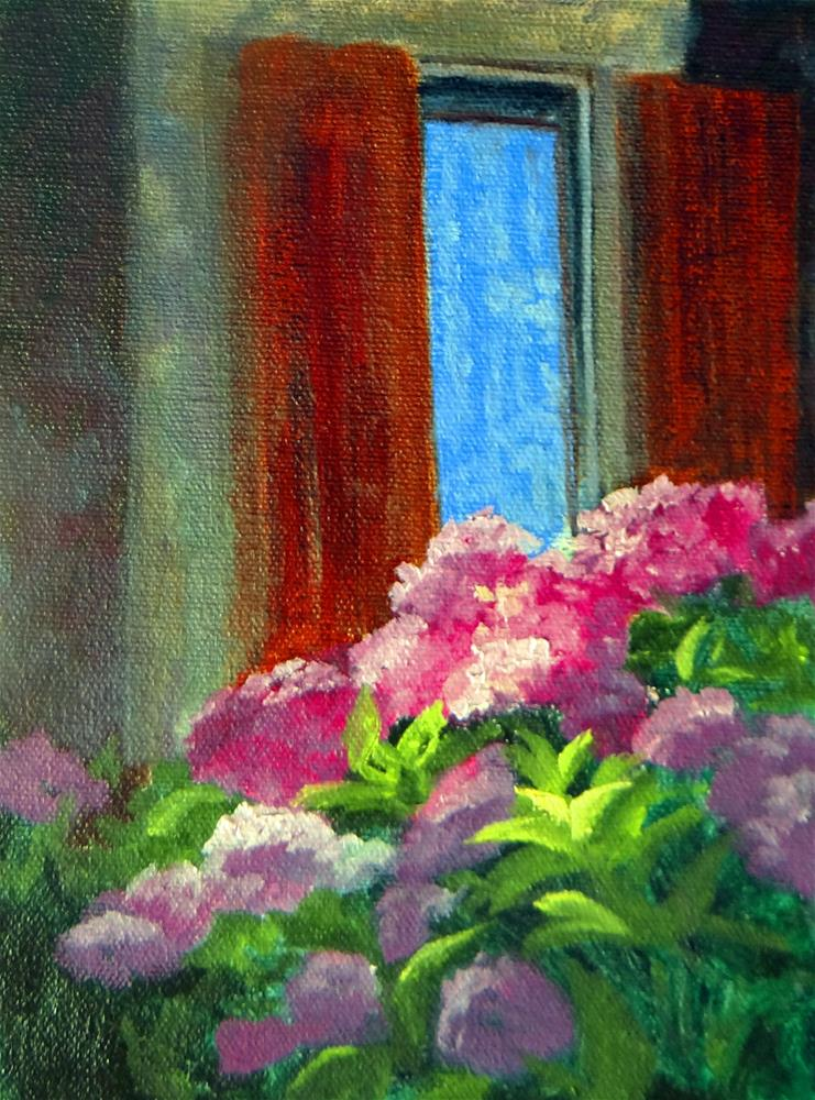 """Lace Curtains in France"" original fine art by Nancy Paris Pruden"