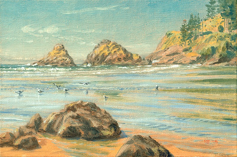 """C1601 Receding Tide at the Devil's Elbow (Oregon Coast)"" original fine art by Steven Thor Johanneson"