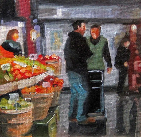 """No 760 Market Chat"" original fine art by Robin J Mitchell"
