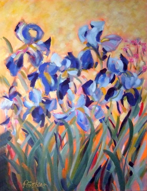 """Blue Iris Portrait"" original fine art by Pamela Gatens"