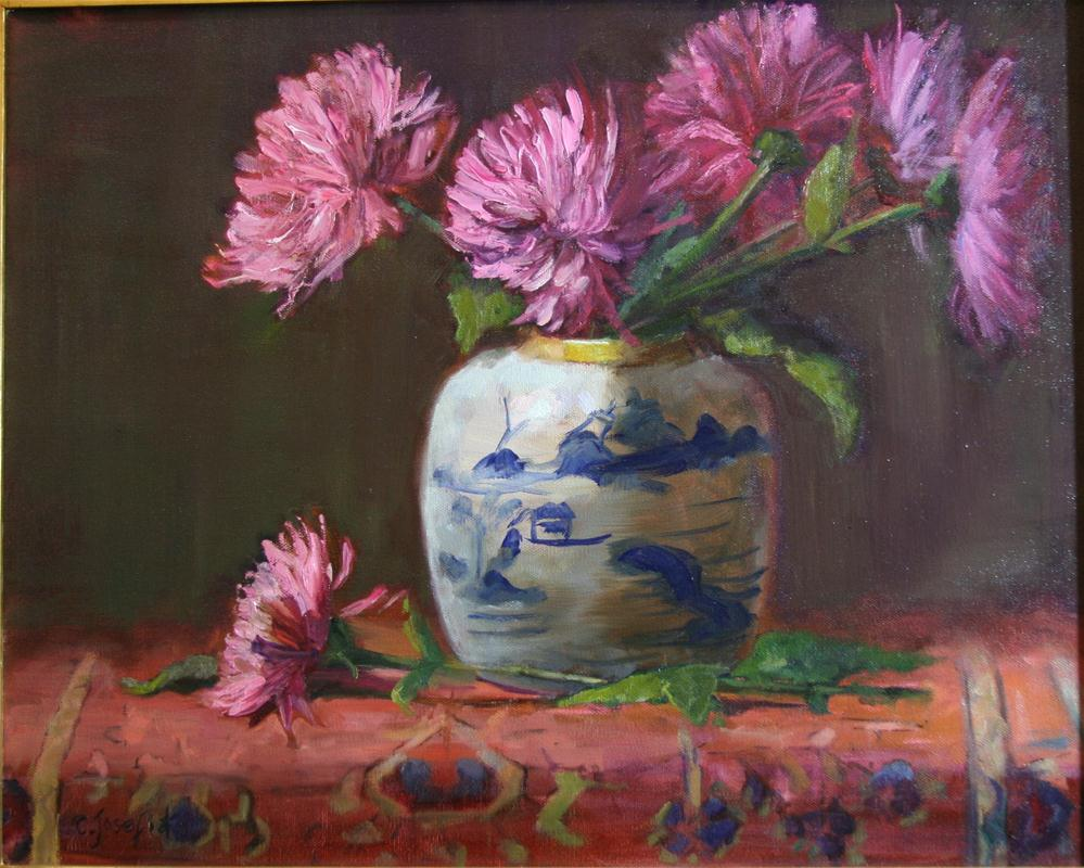 """Pink spider mums"" original fine art by Carol Josefiak"