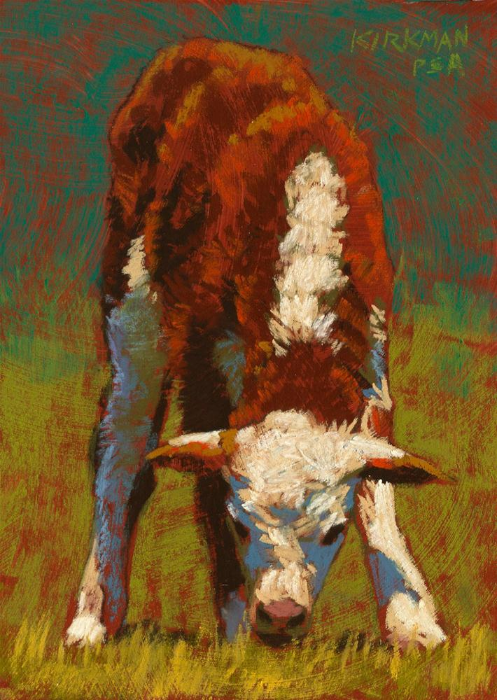 """""""Grazing Calf"""" original fine art by Rita Kirkman"""