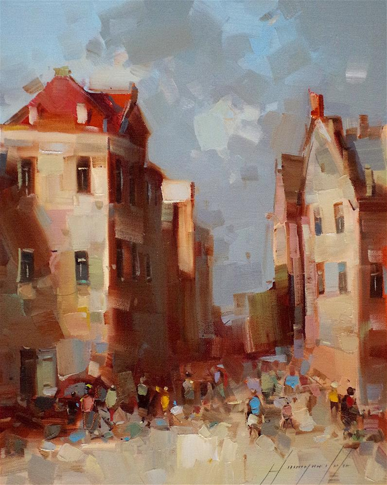 """""""Cityscape oil Painting, original artwork , One of a kind, Signed with Certificate of Authenticity"""" original fine art by V Yeremyan"""