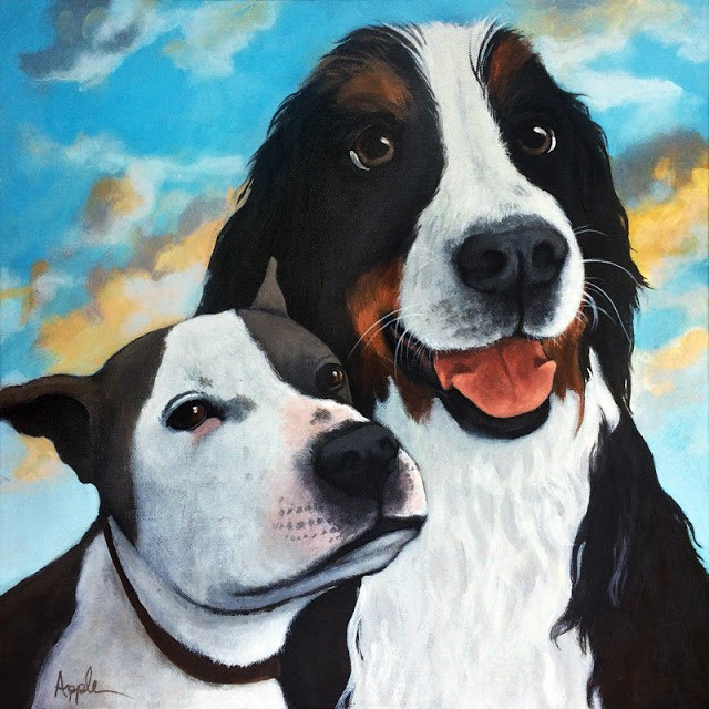 """Friends - Bodhi & Lily realistic dog portrait"" original fine art by Linda Apple"