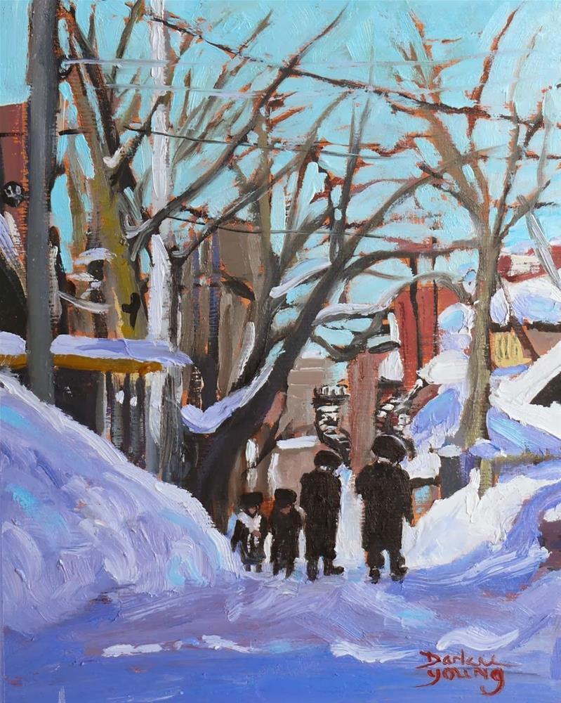 """717 Montreal Winter Scene, Mile End Shabbat"" original fine art by Darlene Young"