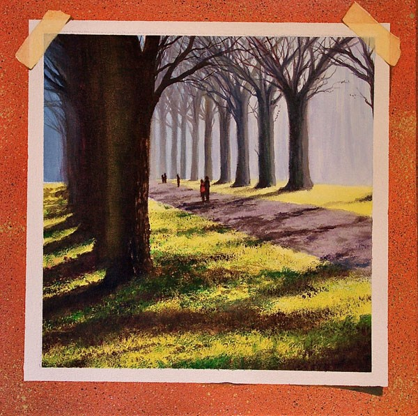 """QUIET WALK"" original fine art by Gerald Schwartz"