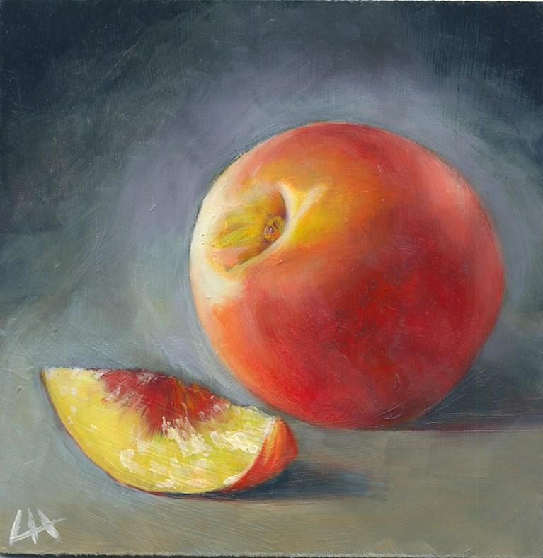 """""""Peach on the table"""" original fine art by Hui (Hue) Li"""