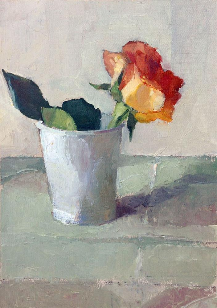 """Civita - lone rose"" original fine art by Myriam Kin-Yee"